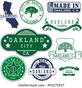 Set of generic stamps and signs of Oakland city, California