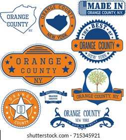 Set of generic stamps and signs of Orange county, New York state