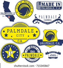 Set of generic stamps and signs of Palmdale city, California