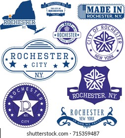 Set of generic stamps and signs of Rochester city, New York state
