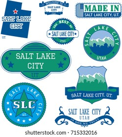 Set of generic stamps and signs of Salt Lake City, Utah