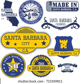 Set of generic stamps and signs of Santa Barbara city, California