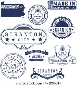 Set of generic stamps and signs of Scranton city, Pennsylvania