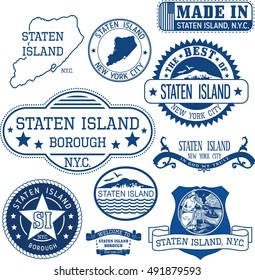 Set of generic stamps and signs of Staten Island borough, New York City
