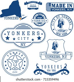Set of generic stamps and signs of Yonkers city, New York state