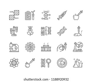 Set of Genetics outline icons isolated on white background. Editable Stroke. 64x64 Pixel Perfect.