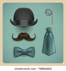 Set of gentleman accessories. Realistic bow tie, black bowler hat, striped tie, brown mustache and golden monocle isolated on retro background. Vector illustration.