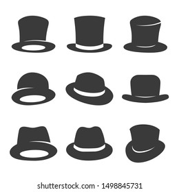Set of gentleman hats. vector classic top hat icons isolated on white background