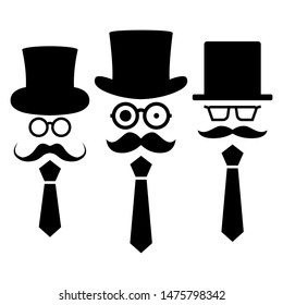 Set of gentleman stick figures, black mans silhouettes on a white background. Icons people, vector illustration.