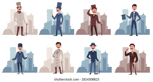Set of gentlemen cartoon characters dressed in 19th century fashion, flat vector illustration isolated on white background. Victorian times men old fashioned personages.