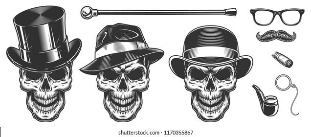 Set of gentlemen skulls in the hat. Vector illustraiton