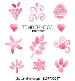 Set of gently pink symbols. Nature, flowers, leaves, scribbles. Watercolor, vector.