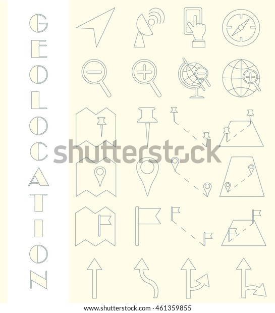 Set of geolocation line icons, vector illustration