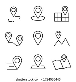 Set of Geolocation map mark, Related Line Icons. line icon, Collection of Icons map point location. Editable Stroke map mark location set icon. Illustration set, Icons vector map pin location,
