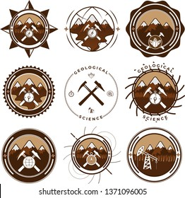 Set of geological emblems and logos in monochrome style