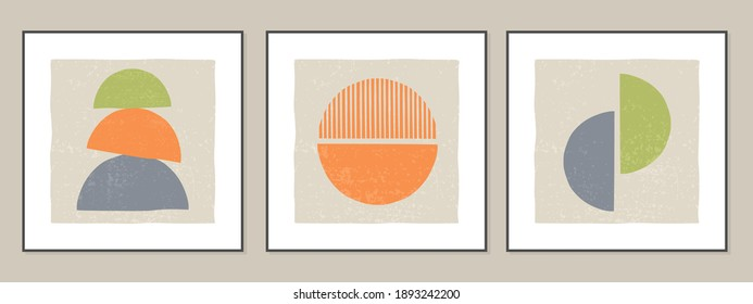 Set of geometric abstract backgrounds, posters in minimalist style with texture. Contemporary art is ideal for wall decoration, interior design