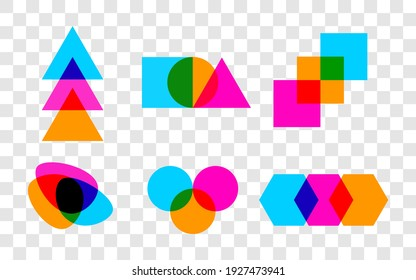Set of geometric abstract intersecting shapes. Graphic design elements, for logos, icons, signs and symbols