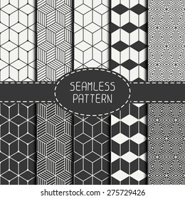 Set of geometric abstract seamless cube pattern with rhombuses. Wrapping paper. Paper for scrapbook. Tiling. Vector illustration. Background. Graphic texture with optical illusion effect.