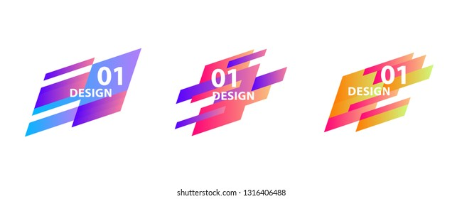 Set of geometric abstract shapes. Vector banners for presentation, flyer, tag design.