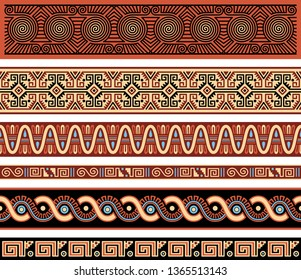Set of Geometric Abstract Vector Borders Inspired by Pre-Columbian Traditional Art of the Americas
