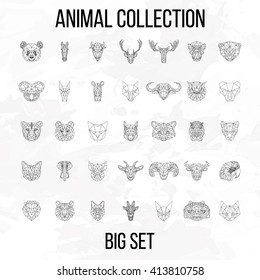 Set of geometric animals head isolated on white background vintage vector design element illustration
