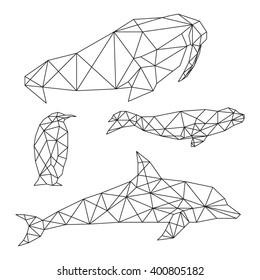 Set of geometric animals isolated on white background vintage vector design element illustration