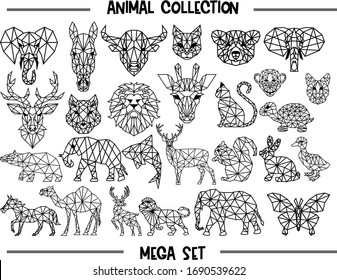 Set of geometric animals silhouettes isolated on white background vintage vector design element illustration.