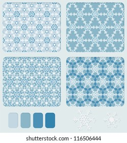 Set of geometric blue seamless ornament with the shape of snowflakes us based form. Color palette for patter included