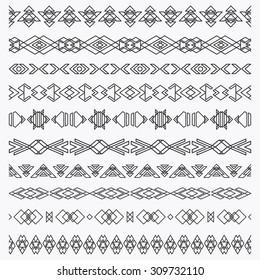 Set of geometric borders, brushes