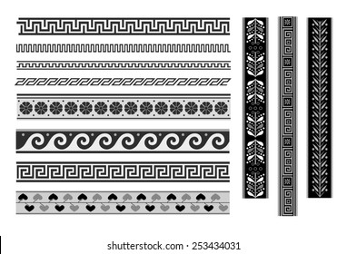 Set of geometric borders. Greek ornament