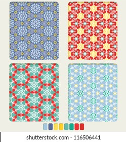 Set of geometric bright seamless ornament with the shape of snowflakes us based form. Color palette for patter included