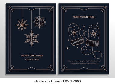 Set of geometric Christmas cards with rose gold lines and dark background. Vector illustration
