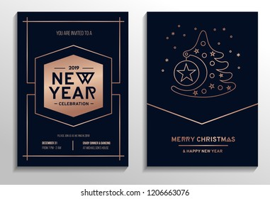 Set of geometric Christmas party cards with rose gold lines and dark background. Vector illustration