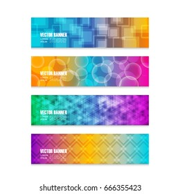 set of geometric colorful banner, isolated on white background
