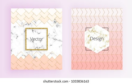 Set geometric cover designs with gold lines, pastel pink colors and marble texture background. Template for invitation, card, design, banner, wedding, brochure, web, flyer