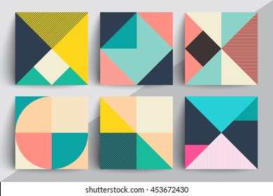 Set of geometric design cards. Applicable for Covers, Voucher, Posters, Flyers and Banner Designs.