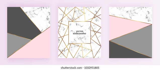 Set geometric designs posters with gold line, grey, pastel pink colors and marble texture  background. Template for invitation, card, design, banner, wedding, baby shower