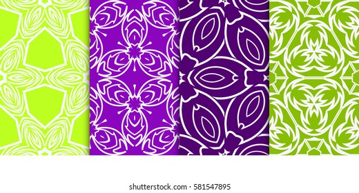 set of geometric floral seamless pattern background. Luxury texture for wallpaper, invitation. Vector illustration.