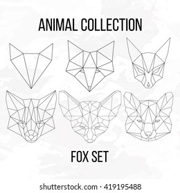 Set of geometric fox head isolated on white background vintage vector design element illustration