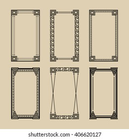 Set of geometric frames . Ethnic motives . It can be used for greeting cards , invitations , labels , photo . Vector illustration.