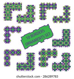Set of geometric frames patterns. Ten stylish borders ornaments in the form of linear and corner elements from which you can create frames and background.