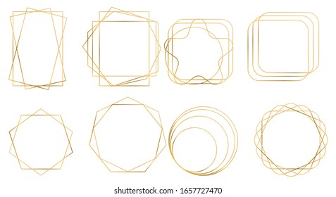 Set of geometric golden frame. Design for wedding card, invitations, logo, book cover and poster