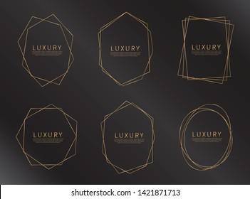 Set of geometric golden frame. Golden frame for wedding invitation cards. Luxury style. Vector illustration.