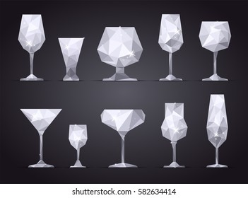 Set of geometric icon wine, champagne, cocktail, vodka, tequila, martini glass on black background. Poly and triangle style. JPG include isolated path. eps10