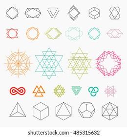 Set of geometric icons. Hexagons, shapes, logos. Line art, vector illustration EPS 10