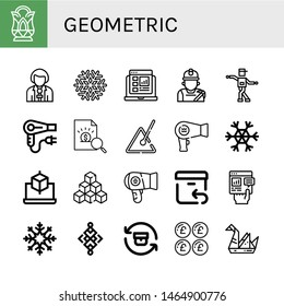 Set of geometric icons such as Crystal, Reporter, Snowflake, Report, Miner, Shuffle, Hair dryer, Triangle, Cube, Cubes, Return, Abstract, Pound, Origami , geometric