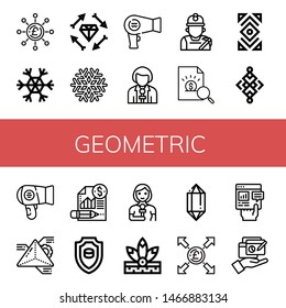 Set of geometric icons such as Pound, Snowflake, Boho, Hair dryer, Reporter, Miner, Report, Abstract, Geometry, Emblem, Native american, Crystal , geometric