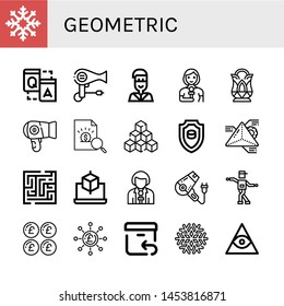 Set of geometric icons such as Snowflake, Q a, Hair dryer, Native american, Reporter, Crystal, Report, Cubes, Emblem, Geometry, Maze, Cube, Shuffle, Pound, Return , geometric