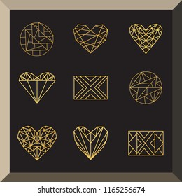 Set of geometric line icons of squares, hearts and round shapes. Retro modern vector illustration for background and templates for design logos or objects.
