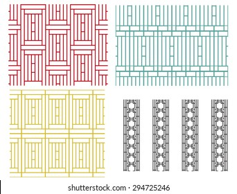 Set of geometric line seamless pattern and texture in modern korean style